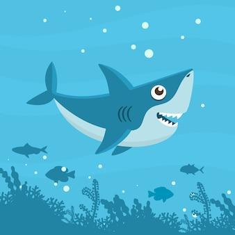 Flat style cute baby shark