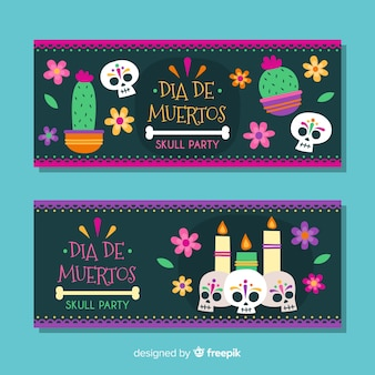 Flat style day of the dead banners