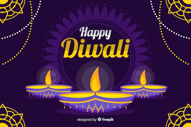 Flat style diwali background