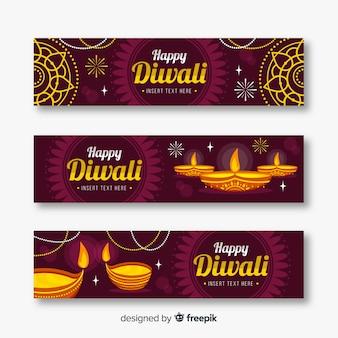 Flat style diwali web banners