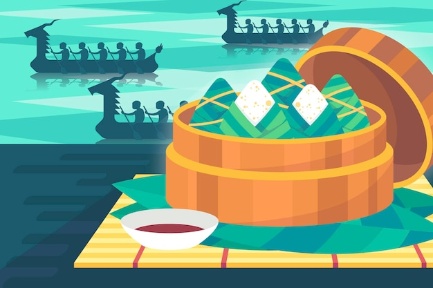 Flat style dragon boat's zongzi background