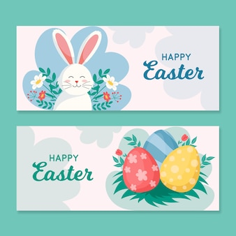 Flat style easter day banners with bunny