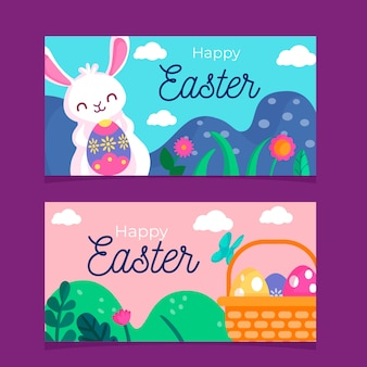 Flat style easter day banners