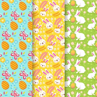 Flat style easter day pattern collection