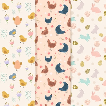 Flat style easter day pattern set