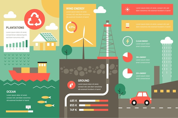 Flat style ecology infographic with retro colors
