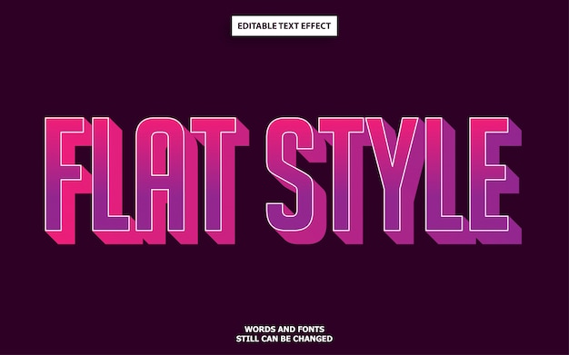 Flat style editable text effect