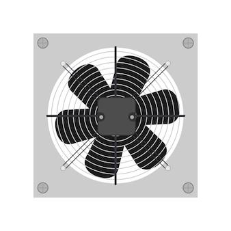 Плоский стиль вытяжного вентилятора. вентилятор, кулер для компьютера. изолированные.