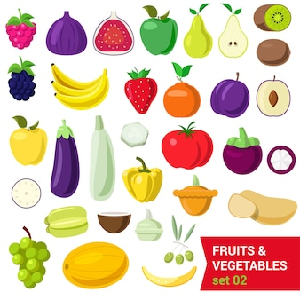 Flat style fancy quality set of fruit and vegetable set. berry raspberry figs apple pear kiwi blueberry plum banana tomato eggplant pepper potato olive coconut grape melon. creative food collection.