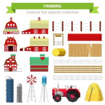 플랫 스타일 농업 농업 세트. 농장 목장 건물 헛간 밀 컨테이너 저장 처리 울타리 스택 물 탱크 트랙터. 크리에이티브 개체 컬렉션.