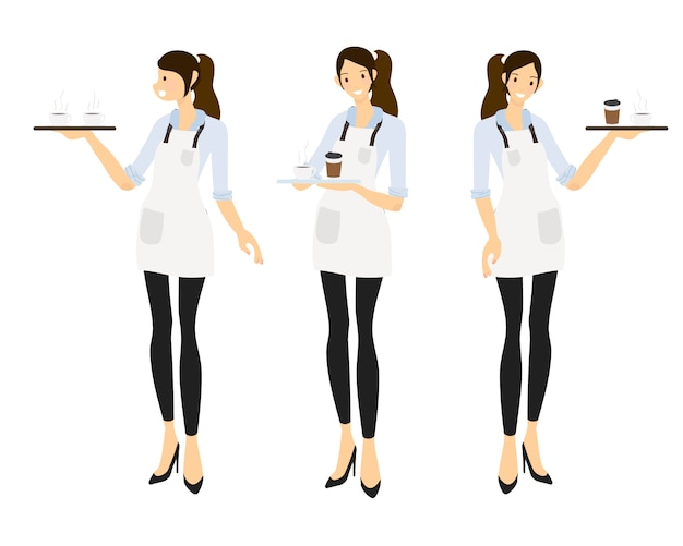 Flat style female barista or coffee waiter  collection