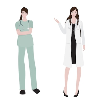 Flat style female doctor collection