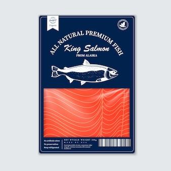 평면 스타일 생선 포장 디자인, 벡터입니다. 핑크 연어, pangasius 및 참치 실루엣