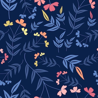 Flat style floral seamless pattern