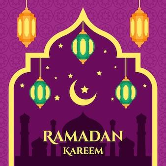 ラマダンのお祝いのためのフラットスタイル