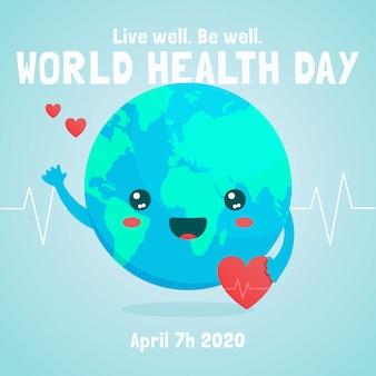 惑星と世界保健デーのフラットスタイル