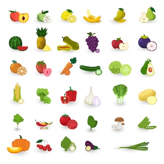 Flat style fruits and vegetable vector set.