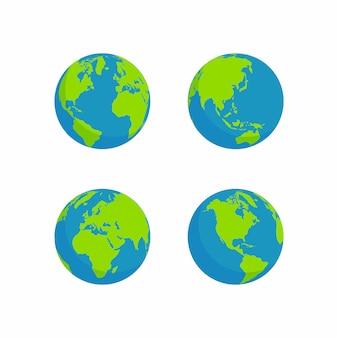 Flat style globe design
