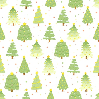 カラフルな背景のシームレスなパターンのフラットスタイルの緑のクリスマスツリー
