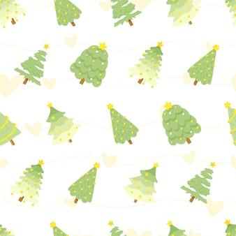 フラットスタイルの緑のクリスマスツリーのシームレスなパターン