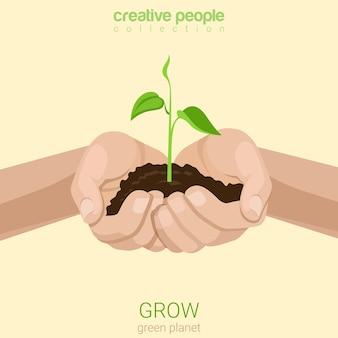 Плоский стиль роста бизнес-концепции