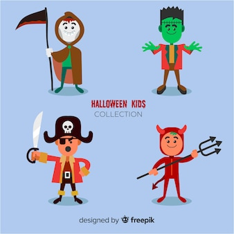 Flat style halloween kids character pack