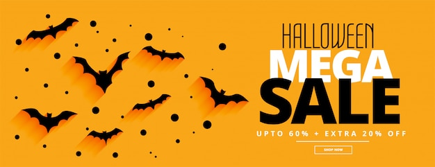 Flat style halloween mega sale yellow banner Free Vector