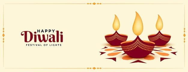 Banner di festival di diwali felice stile piatto