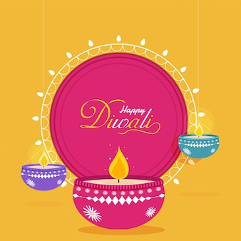 Flat style happy diwali greeting card design with illuminated oi