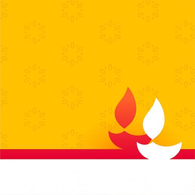 Flat style happy diwali yellow with diya