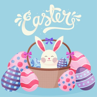 Flat style happy easter day with bunny