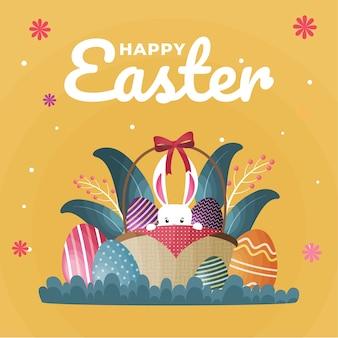 Плоский стиль счастливого пасхального дня с яйцами
