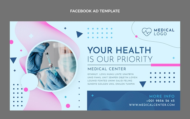 Flat style health facebook template