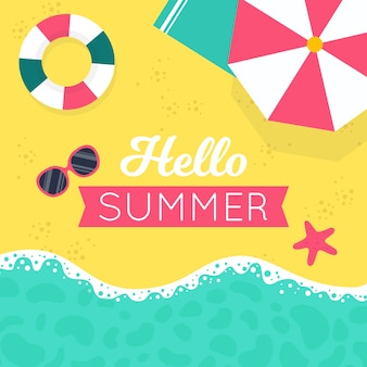 Плоский стиль привет лето