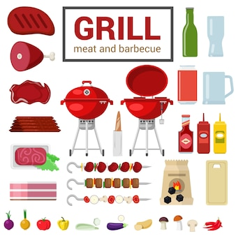 Flat style high detail quality icon set of grill meat barbecue bbq objects harcoal cutting board eggplant pepper onion ketchup mustard skewer kebab food beverage cooking kitchen outdoor