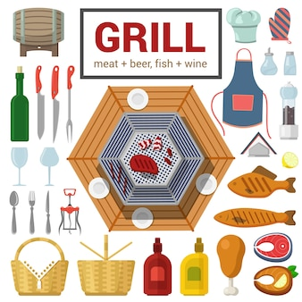Flat style high detail quality icon set of grill meat fish barbecue bbq steak object wine cutlery glass salt pepper ketchup mustard chicken leg corkscrew food beverage cooking outdoor collection
