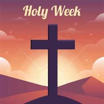 Celebrazione della settimana santa in stile piatto