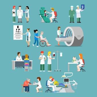 평면 스타일 병원 직업 전문가 개념 사람들 아이콘 병원 환자 팀 검진 x 선 휠체어 mri oculist 치과 의사 소아과 의사 간호사에 대 한 설정.