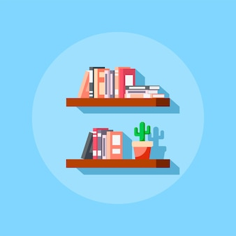 Flat style icon of bookshelve with books and cactus.