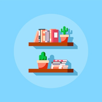 Flat style icon of bookshelve with books and cactus