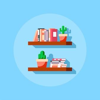 Плоская икона стиля книжной полки с книгами и кактусом