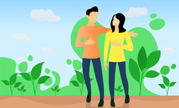 Flat style illustration about couple on vacation in a green place