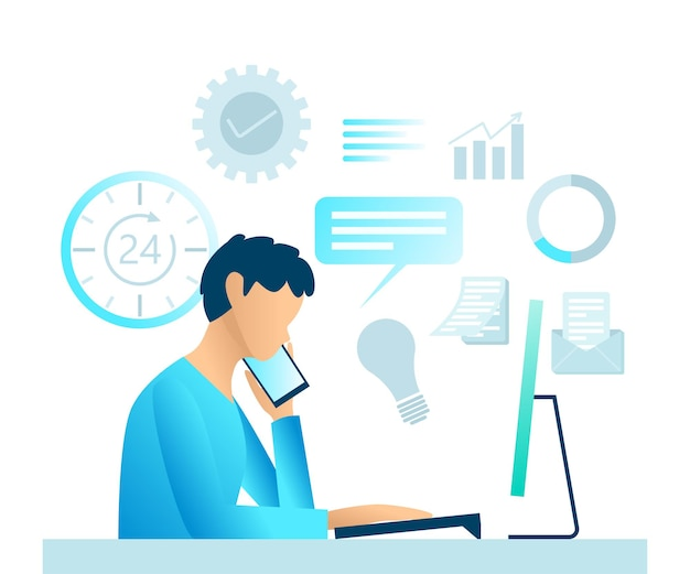 Flat style illustration of business consulting