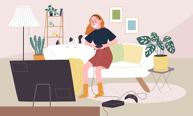 Flat style illustration of cartoon woman character playing game in living room. daily life activity during quarantine. concept of hobby ideas that can do at home.