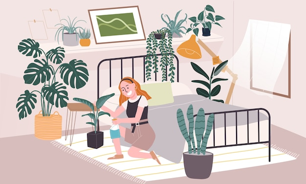 Flat style illustration of cartoon woman character taking care of house plant in bedroom. daily life activity during quarantine. concept of hobby ideas that can do at home.