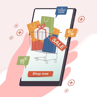 Flat style illustration concept of shopping online on smartphone screen. easy online mobile shopping banner template for application and website. digital marketing element. discount sale.