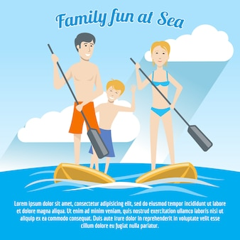Flat style illustration, family portrait of 3 people, family holiday, riding on the boards, place for text. can be used as a postcard, poster, banner, hotel invitation, design blank