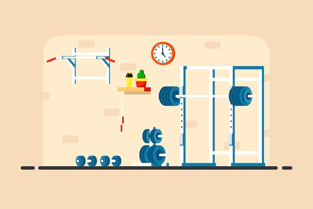 Flat style illustration of gym interior. heavy barbell, squat rack and additional gym eqipment.