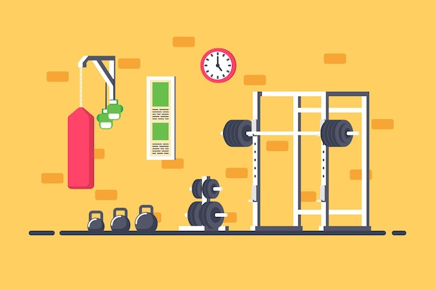 Flat style illustration of gym interior. heavy barbell, squat rack and additional gym equipment.