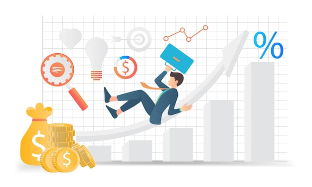 Flat style illustration of male businessman having fun with his business growth
